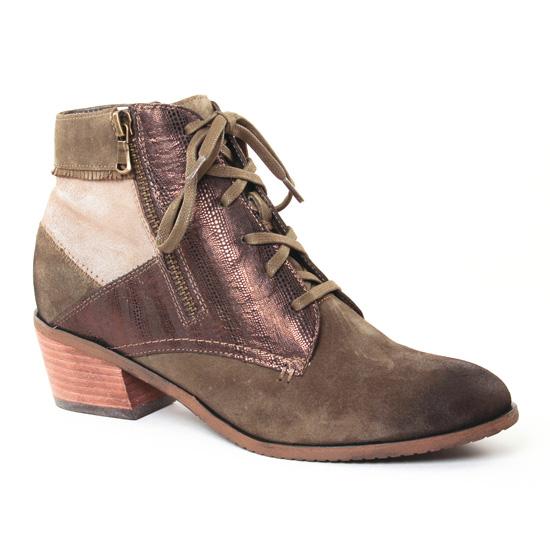 Bottines Et Boots Fugitive Soral Velours Kaki, vue principale de la chaussure femme