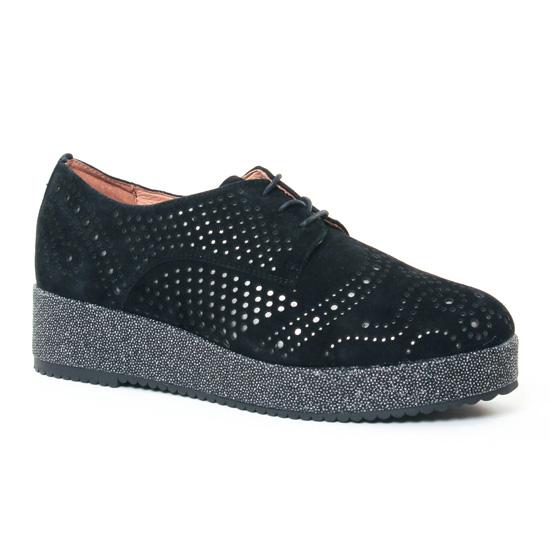 Chaussures À Lacets Mamzelle Ralima Velours Noir, vue principale de la chaussure femme