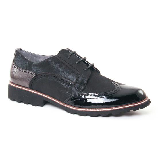 Chaussures À Lacets Fugitive Weyer Metal Noir Vernis, vue principale de la chaussure femme