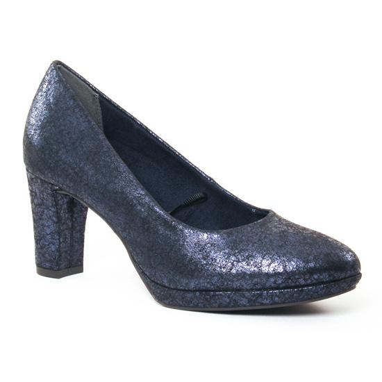 Escarpins Tamaris 22420 Navy Metal, vue principale de la chaussure femme