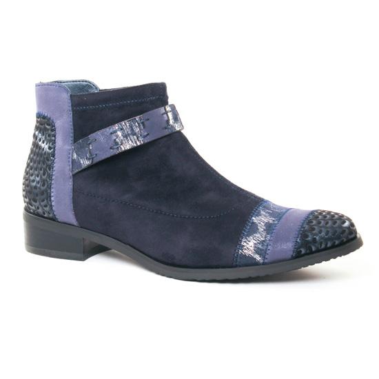 Bottines Et Boots Fugitive Rebus Velours Navy, vue principale de la chaussure femme