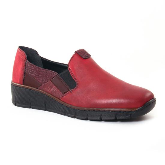 Mocassins Rieker 53754 Bordeaux, vue principale de la chaussure femme