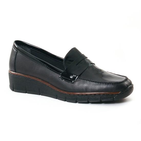 Mocassins Rieker 53732 Noir, vue principale de la chaussure femme