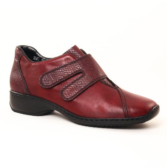 Mocassins Rieker L3856 Bordeaux, vue principale de la chaussure femme