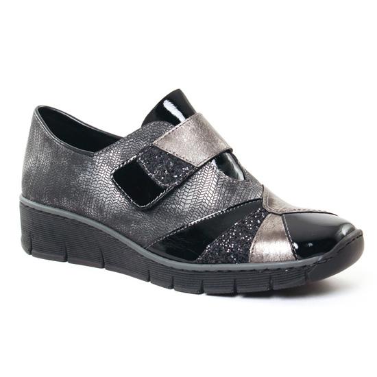 Mocassins Rieker 537C1 Noir, vue principale de la chaussure femme