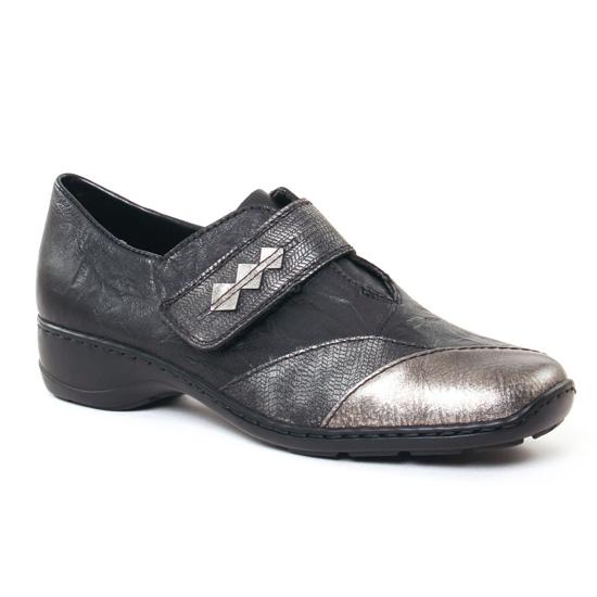 Mocassins Rieker 58397 Noir, vue principale de la chaussure femme