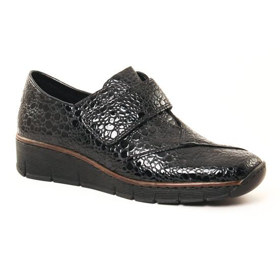 1c01a5111cc6 Rieker 537C5 Granit | mocassin trotteurs noir vernis automne hiver ...
