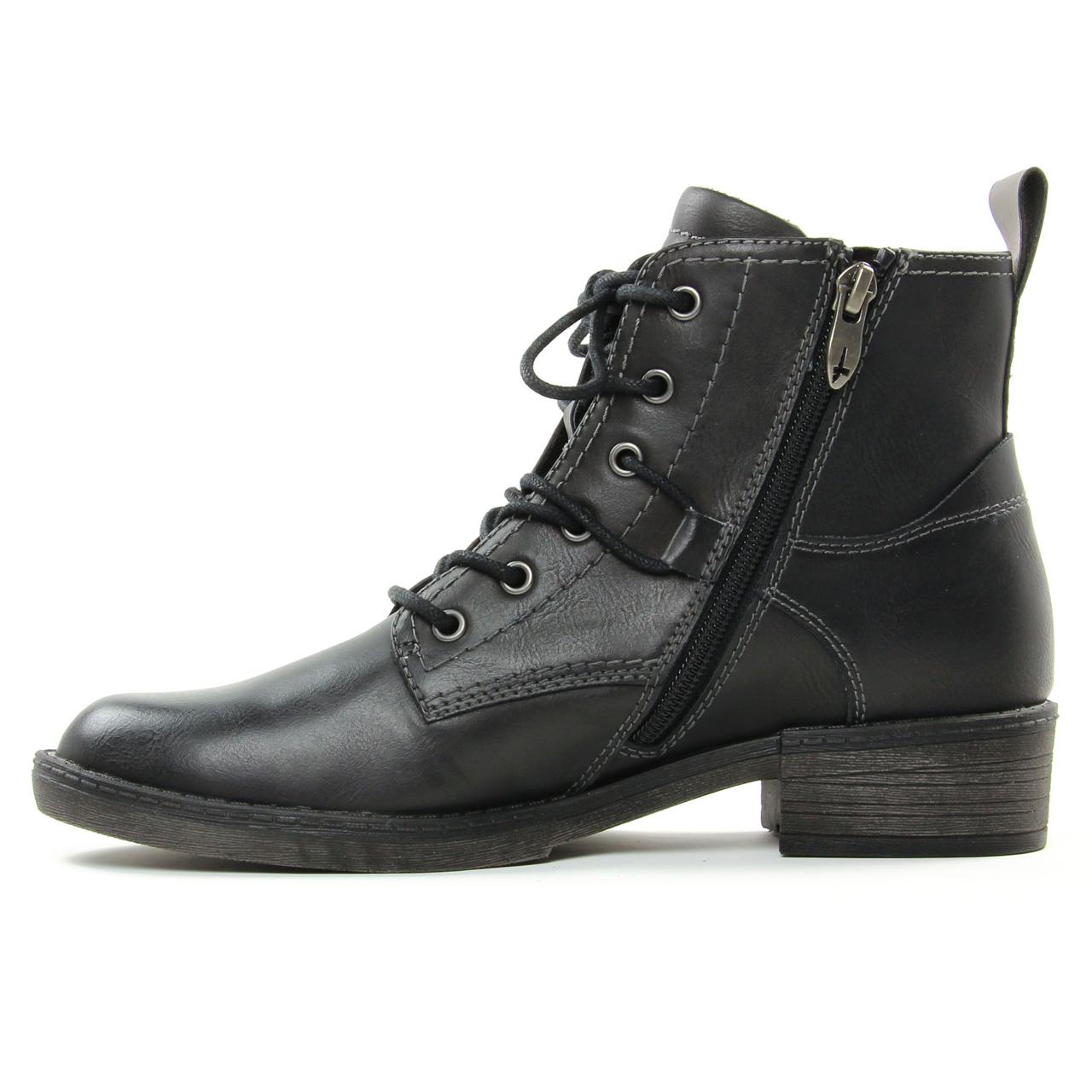 Tamaris 25116 Black   bottine à lacets noir automne hiver