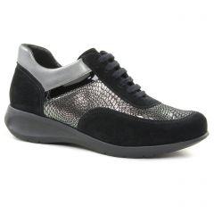 Chaussures femme hiver 2018 - baskets mode Hirica noir argent