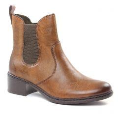 Chaussures femme hiver 2018 - boots élastiquées rieker marron