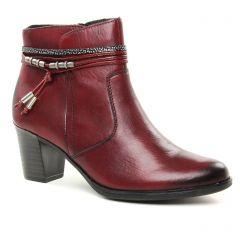 boots-talon rouge bordeaux: même style de chaussures en ligne pour femmes que les Rieker