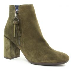 boots-talon vert kaki: même style de chaussures en ligne pour femmes que les Rieker