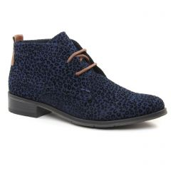 Chaussures femme hiver 2018 - bottines à lacets marco tozzi bleu léopard