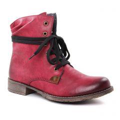 Rieker 70829 Wine Mog : chaussures dans la même tendance femme (bottines-a-lacets bordeaux) et disponibles à la vente en ligne