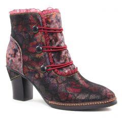 Chaussures femme hiver 2018 - bottines à lacets Laura Vita rouge multi