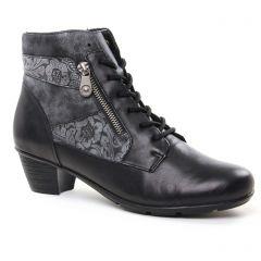 Chaussures femme hiver 2018 - bottines à lacets Remonte noir gris