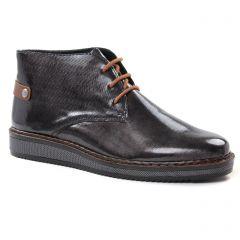 Chaussures femme hiver 2018 - bottines à lacets rieker noir gris