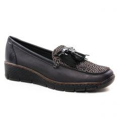 Rieker 537B6-01 Schwarz : chaussures dans la même tendance femme (mocassins-trotteurs noir gris) et disponibles à la vente en ligne