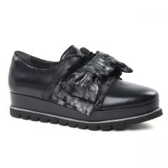 derbys-talons-compenses noir argent: même style de chaussures en ligne pour femmes que les Geo Reino