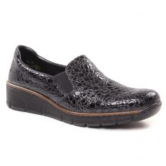 Chaussures femme hiver 2018 - Mocassins Slippers rieker gris noir