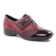 mocassins-trotteurs bordeaux: même style de chaussures en ligne pour femmes que les Rieker