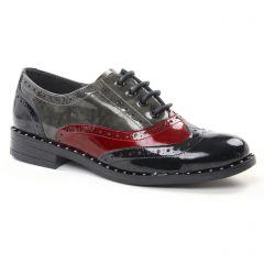 richelieus noir rouge gris: même style de chaussures en ligne pour femmes que les Tamaris