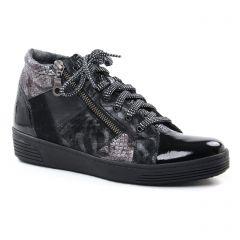 Chaussures femme hiver 2018 - baskets compensees Geo Reino noir bronze