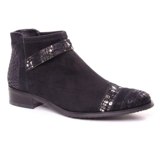 Bottines Et Boots Fugitive Rebus Velours Noir, vue principale de la chaussure femme