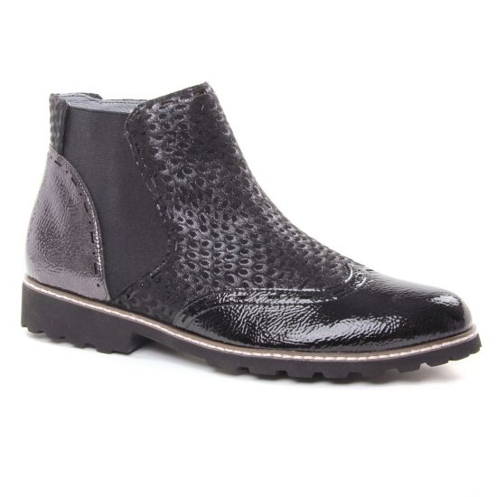 Bottines Et Boots Fugitive Woipy Vernis Noir, vue principale de la chaussure femme