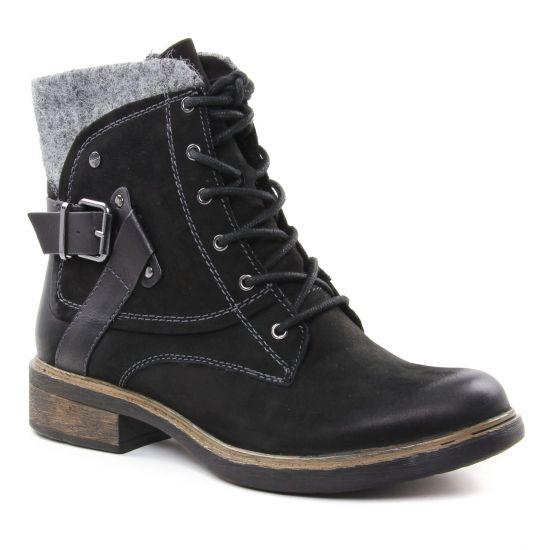 Tamaris 25101 Black | bottine à lacets noir gris automne