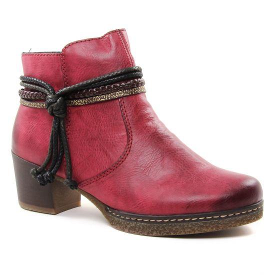 Bottines Et Boots Rieker 59098-35 Wine Tes, vue principale de la chaussure femme