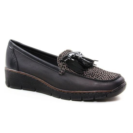 Mocassins Rieker 537B6-01 Schwarz, vue principale de la chaussure femme