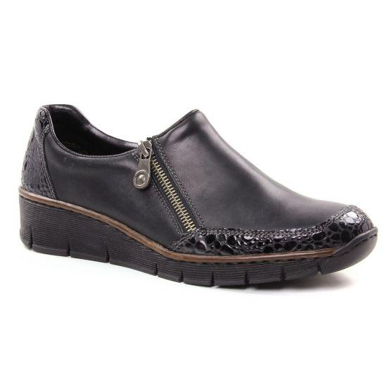 89c195629 Rieker 53734-45 Granit | Mocassin Slippers gris noir automne hiver ...