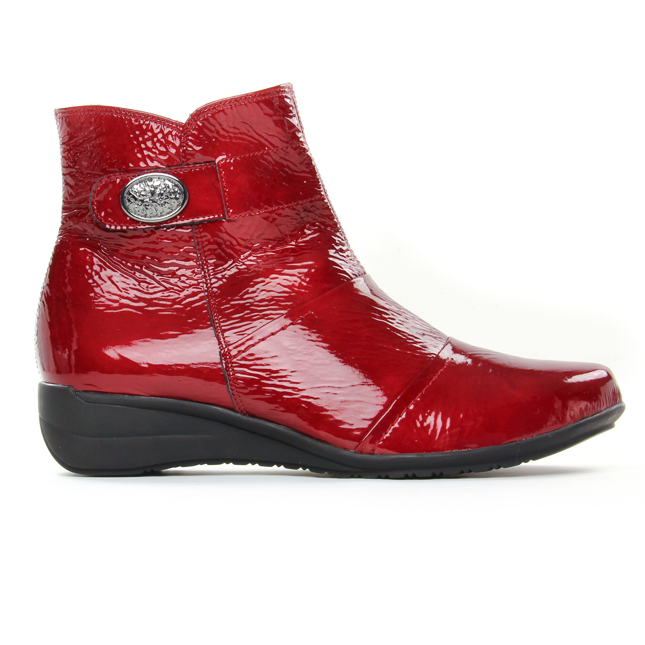 bottines cuir verni rouge femme