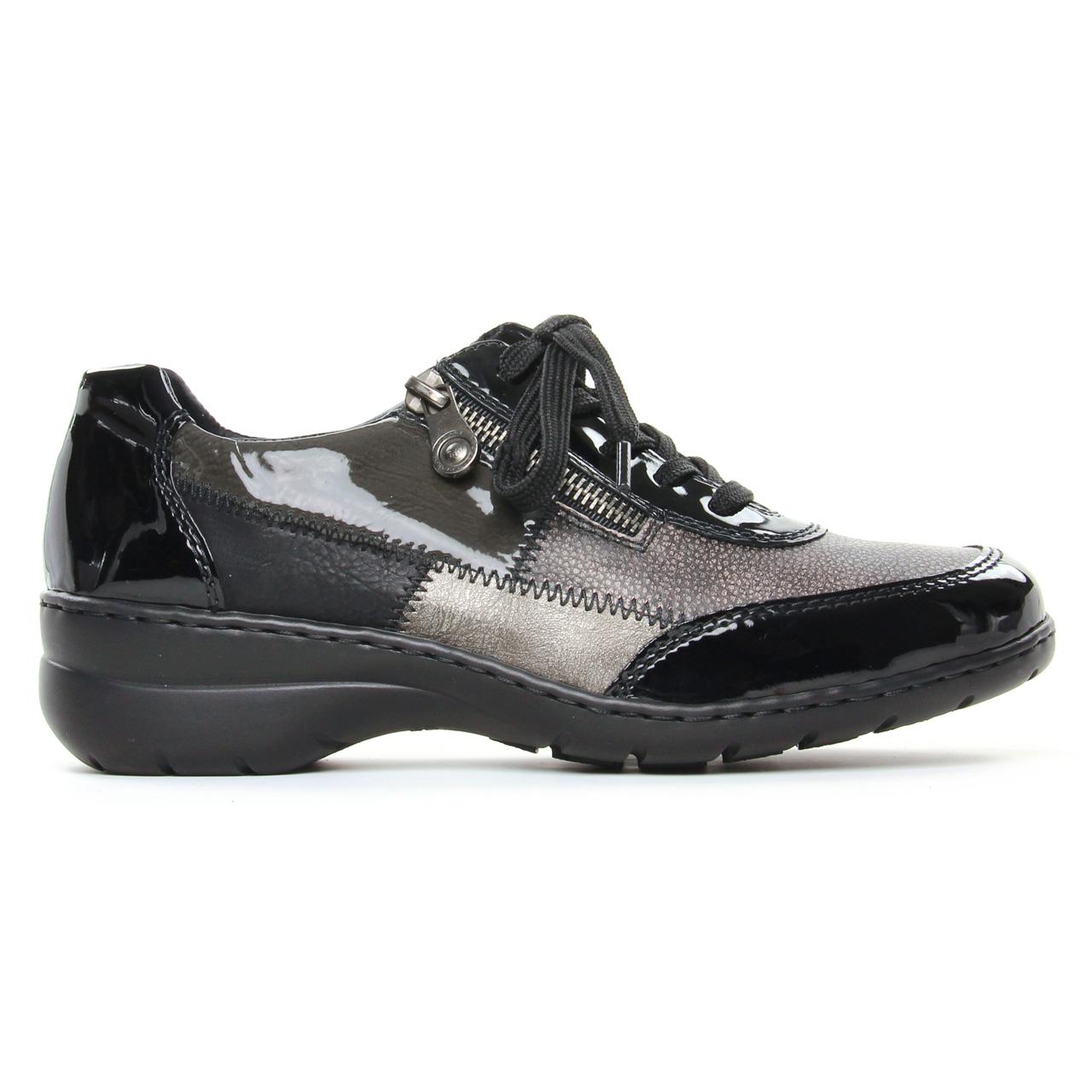 Rieker L4320 00 Schwarz | derbys noir gris automne hiver