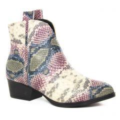 boots blanc rose multi: même style de chaussures en ligne pour femmes que les Les Tropéziennes