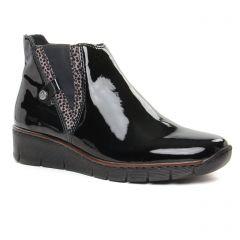 Chaussures femme hiver 2019 - boots élastiquées rieker noir vernis