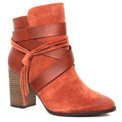 boots-talon marron orange: même style de chaussures en ligne pour femmes que les Tamaris