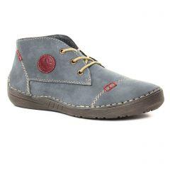 Chaussures femme hiver 2019 - bottines à lacets rieker bleu gris