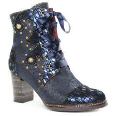 Chaussures femme hiver 2019 - bottines à lacets Laura Vita bleu multi