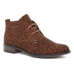 bottines-a-lacets marron léopard: même style de chaussures en ligne pour femmes que les Marco Tozzi