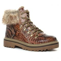 Chaussures femme hiver 2019 - bottines à lacets tamaris marron serpent