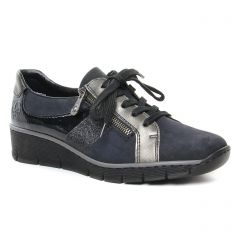 derbys-talons-compenses noir bleu: même style de chaussures en ligne pour femmes que les Rieker