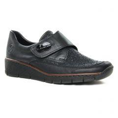 Chaussures femme hiver 2019 - mocassins trotteurs rieker noir