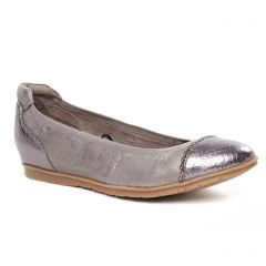 Chaussures femme hiver 2020 - ballerines confort tamaris beige argent