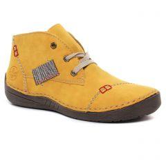 Chaussures femme hiver 2020 - baskets fourrées rieker jaune