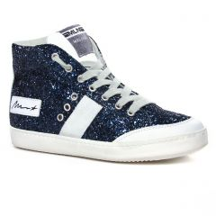 Chaussures femme hiver 2020 - baskets mode Méliné bleu paillettes
