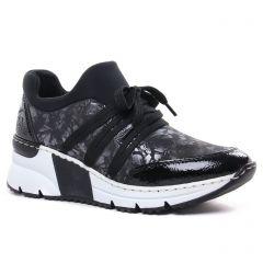 Chaussures femme hiver 2020 - baskets compensees rieker noir argent