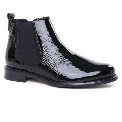 boots-chelsea vernis noir: même style de chaussures en ligne pour femmes que les Scarlatine