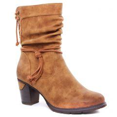 mi-bottes marron: même style de chaussures en ligne pour femmes que les Rieker